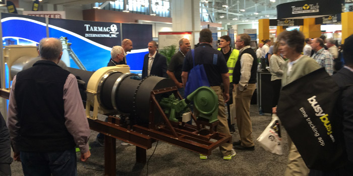 Tarmac at a trade show with quarter scale model rotary thermal dryer. World of Asphalt 2018 was a busy show.